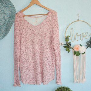 Free People Pink Multi Colored Knitted Sweater